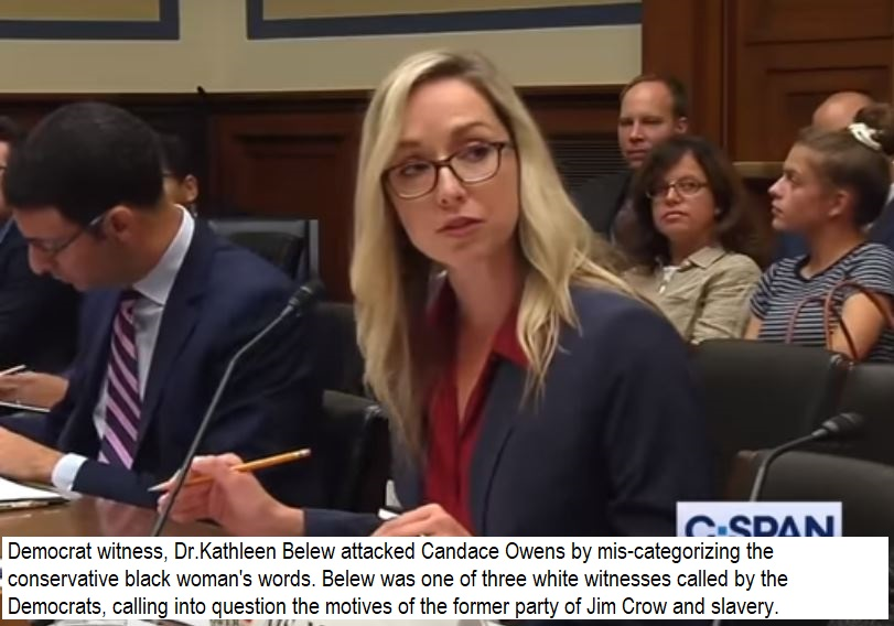 Democrat witness, Dr.Kathleen Belew attacked Candace Owens by mis-categorizing the conservative black woman's words